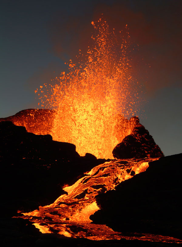 A volcano erupting